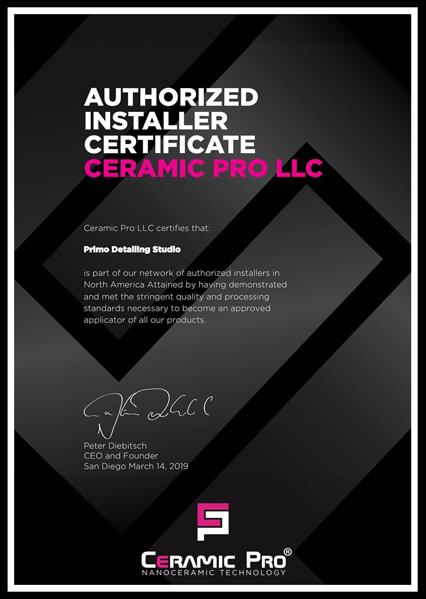 Ceramic Pro Authorized Installer Certificate | PRIMO Detailing Studio